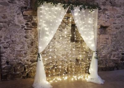 Backdrop fairy lights n drapes